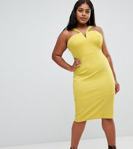 Read more about Asos curve bandage cut out bodycon midi dress - chartreuse