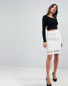 Read more about Kendall kylie crochet pencil skirt - white