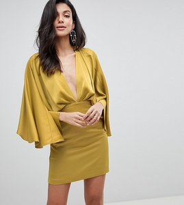 Read more about Asos design tall cape kimono sleeve deep plunge mini dress - yellow