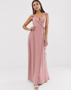 Read more about Asos design ruffle wrap maxi dress with tie detail