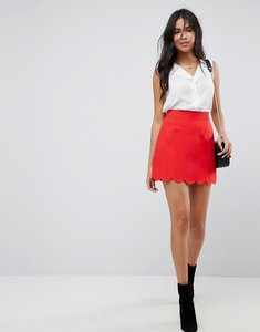 Read more about Asos tailored a-line mini skirt with scallop hem - red