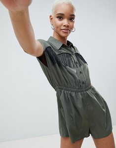 Read more about Asos design western playsuit with fringe detail - khaki