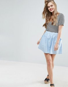 Read more about Asos mini skater skirt in cotton poplin with pockets - blue