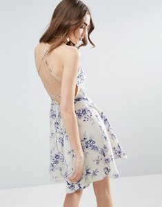 Read more about Asos printed plunge strap back mini dress - multi