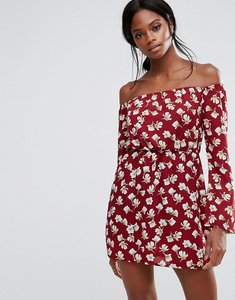Read more about Missguided floral print bardot mini dress - burgundy print