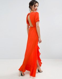 Read more about Asos tea dress maxi with ruffle detail and open back - orange