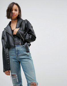 Read more about Asos oversized leather jacket with zip detail - black
