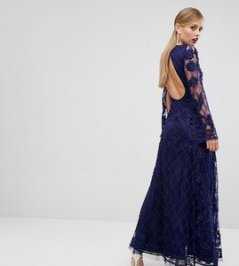 Read more about A star is born embellished maxi dress with long split sleeve - navy