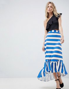 Read more about Asos scuba midaxi skirt with scallop hem in stripe - blue white