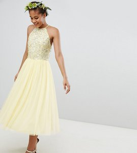 Read more about Maya tall halterneck delicate sequin detail tulle midi dress - lemon
