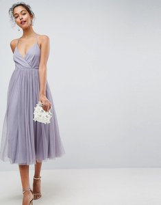 Read more about Asos pinny extreme tulle mesh midi dress - dusty mauve