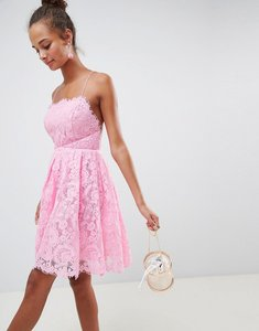 Read more about Asos design square neck mini lace prom dress - pink