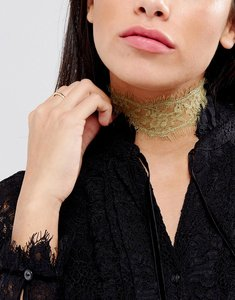 Read more about Johnny loves rosie festival gold lace choker necklace - silver gold