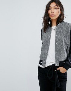 Read more about Abercrombie fitch contrast sleeve varsity bomber - grey