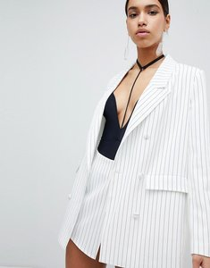 Read more about Parallel lines pin stripe blazer co-ord - white black stripe