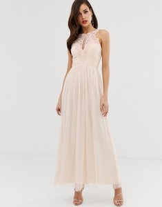 Read more about Little mistress tulle maxi dress with lace detail