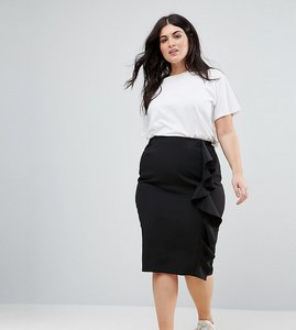 Read more about New look curve ruffle pencil skirt - black