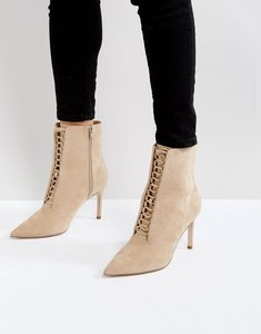 Read more about Asos ego point lace up boots - nude