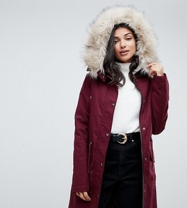 Read more about Asos design tall parka with detachable faux fur liner in oxblood
