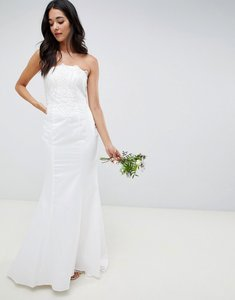 Read more about Little mistress bandeau wedding dress with sequin detail