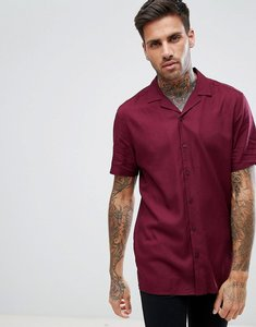 Read more about Asos regular fit viscose shirt with revere collar in burgundy - burgundy