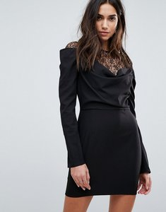 Read more about Prettylittlething lace insert drape front mini dress - black