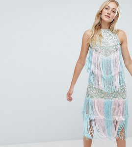 Read more about A star is born tall embellished midi dress with tassels - multi