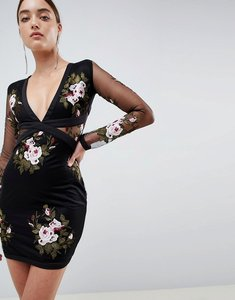 Read more about Rare london rose embroidered mini dress - black