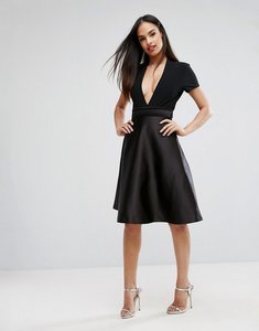 Read more about Vesper bonded satin prom skirt with bow back - black