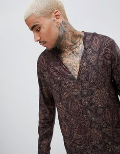 Read more about Asos design regular fit v neck shirt with paisley print - black