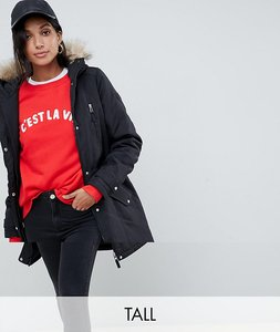 Read more about Vero moda tall faux fur hooded parka - black