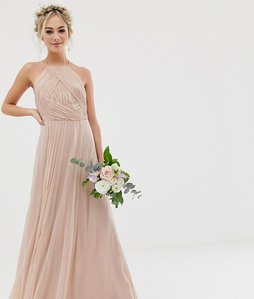 Read more about Asos design bridesmaid pinny maxi dress with ruched bodice