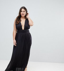 Read more about Asos design curve grecian plunge maxi woven beach dress - black