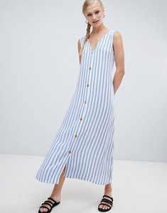 Read more about Monki stripe button front midi dress - multi 1