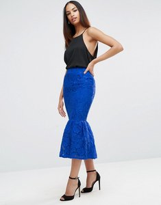 Read more about Asos lace pencil skirt with peplum hem - blue