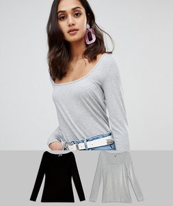 Read more about Asos t-shirt with square neck and long sleeve 2 pack - black light grey