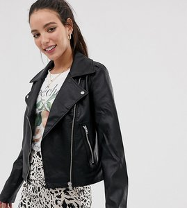 Read more about Asos tall ultimate leather look biker jacket - black