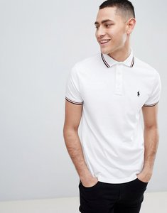 Read more about Polo ralph lauren tipped pima jersey polo custom regular fit in white - white