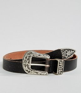 Read more about Asos leather slim belt in vintage brown with western buckle - brown
