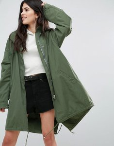 Read more about Missguided khaki sequin back oversized parka - khaki