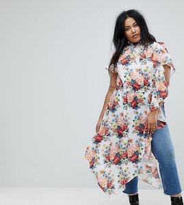 Read more about Asos curve asymmetric longline top in floral print - multi