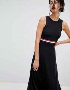 Read more about Stradivarius stripe waistband dress with back cutout - black