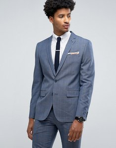 Read more about Farah skinny suit jacket in prince of wales check - blue