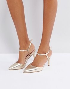 Read more about London rebel mid height point high heels - champagne pu