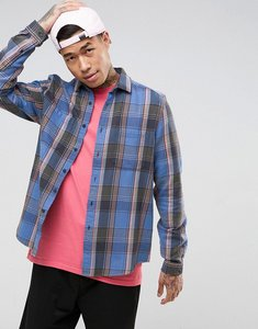 Read more about Asos design regular fit check shirt in pale blue - blue