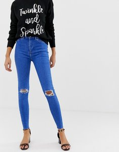 Read more about New look hallie disco high rise ripped jeans - bright blue