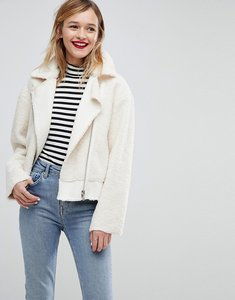 Read more about Asos faux leather borg biker jacket - cream