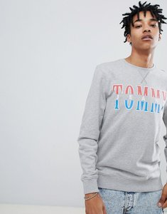 Read more about Tommy jeans capsule essential split logo crewneck sweatshirt in grey marl - grey marl