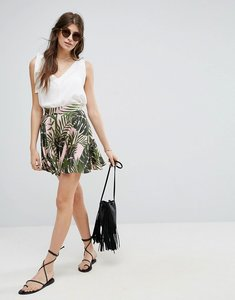 Read more about Asos satin mini skater skirt in palm print - palm print