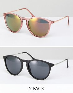 Read more about Asos 2 pack skinny keyhole retro round sunglasses in pink and black - pink and black